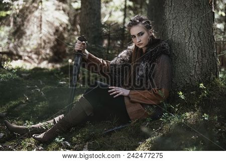 Viking Woman With Sword Wearing