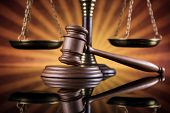 Law wooden gavel barrister, justice concept, legal system concept poster