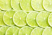 Fresh Sliced Ripe Limes As Background, Top View poster
