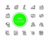 Administration Icons. Set Of  Line Icons. Report, Accounting, Credit Card. Administration Concept. V poster