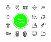 Discovery Icons. Set Of  Line Icons. Video Content, Data Exchange, Online Service. Discovery Concept poster