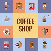 Coffee Flat Icons Set. Modern Icons For Coffee Shop And Coffee House. Colorful Template For Your Des poster