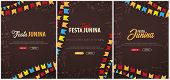 Set Of Festa Junina Backgrounds With Hand Draw Doodle Elements And Party Flags. Brazil Or Latin Amer poster