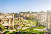 Roman Forum In Rome, Italy. Rome Landmark And Antique Architecture. Ancient Forum Was The Center Of  poster