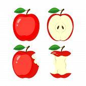 Whole Red Apple, Half Apple Slice, Bitten Apple, Stub. Vector Illustration Isolated On White Backgro poster
