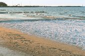 Icy Rocks On The Sea Shore, Ice On Rocks, Ice On Sea Rocks And Sand, Baltic Sea poster