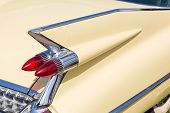 Close-up Of Tail Light And Rear Part Of Retro Car. Detail Of Vintage Classic Vehicle. Wing Fender Wi poster