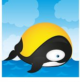 picture of orca  - orca whale cartoon isolated over landscape - JPG