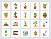 Houseplants And Trees Concept. Flat Icon Set. Gardening, Horticulture, Potted Plants. Can Be Used Fo poster