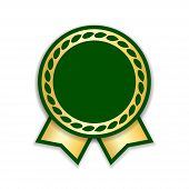 Award Ribbon Isolated. Gold Green Design Medal, Label, Badge, Certificate. Symbol Best Sale, Price,  poster