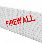 Firewall Concept. White Brick Wall With Firewall Sign On A White Background. 3d Rendering poster