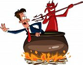 picture of hade  - Infernal cauldron with the devil vector illustration - JPG