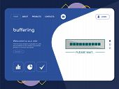 Quality One Page Buffering Website Template Vector Eps, Modern Web Design With Flat Ui Elements And  poster