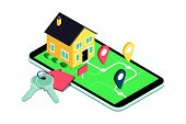Find Your Dream Home: Model House On A Map, House Keys And Icons, Real Estate Mobile App poster