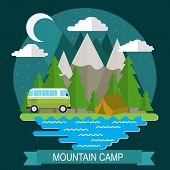 Night Landscape With Camp And Mountain. Camping, Outdoor Recreation, Recreation In Nature. poster