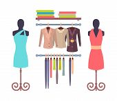 Shop Window In Store For Women With Mannequins In Dresses, Modern Coats And Jackets, Sweaters On She poster
