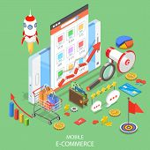 Flat Isometric Vector Concept Of Mobile Advertising, Social Media Campaign, Digital Marketing. poster