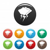 Cloud Thunder Flash Icon. Simple Illustration Of Cloud Thunder Flash Vector Icons Set Color Isolated poster
