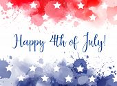 Happy 4Th Of July Watercolor Splashes Background poster