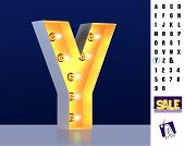 Letter Y From Alphabet. Glowing Letter Y. Bulb Type Y. 3d Illuminated Light Bulb Symbol Letter Y. Re poster