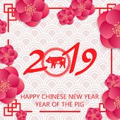 Chinese New Year Festive Vector Card Design With Pig, Zodiac Symbol Of Year 2019. Paper Cut Pig In F poster