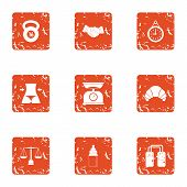 Physical Exertion Icons Set. Grunge Set Of 9 Physical Exertion Vector Icons For Web Isolated On Whit poster