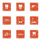 Prosthetic Appliance Icons Set. Grunge Set Of 9 Prosthetic Appliance Vector Icons For Web Isolated O poster