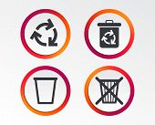 Recycle Bin Icons. Reuse Or Reduce Symbols. Trash Can And Recycling Signs. Infographic Design Button poster
