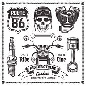 Set Of Motorcycle And Attributes Of Bikers Vector Black Objects And Design Elements Isolated On Whit poster