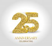 25 - Year Anniversary Banner. 25th Anniversary 3d Logo With Gold Elements. poster