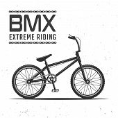 Bmx Bicycle For Extreme Sport Riding Vector Illustration Isolated On Background With Texture And Hea poster
