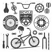 Set Of Bicycle Vector Black Design Elements, Badges, Labels And Emblems Isolated On White Background poster