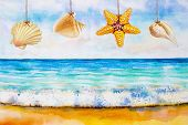 Watercolor Seascape Painting Colorful Of Sea Beach, Wave And Accessories Hung Starfish, Shell, And E poster