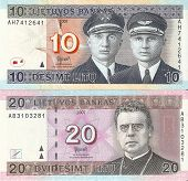 Lithuanian banknotes, 10 and 20 Lithuanian litas.