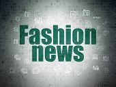 News Concept: Painted Green Text Fashion News On Digital Data Paper Background With  Hand Drawn News poster