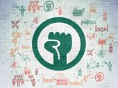 Politics Concept: Painted Green Uprising Icon On Digital Data Paper Background With Scheme Of Hand D poster