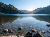 Alpine Mountain Lake Enol Near Covadonga. Lake In The Picos De Europa National Park, Spain, Asturias poster