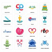 Set Of 16 Simple Editable Icons Such As Fishing Tournament, Astronaut Helmet, , Quran, Rap, Eucalypt poster
