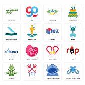 Set Of 16 Simple Editable Icons Such As Fishing Tournament, Astronaut Helmet, , Quran, Rap, Eucalypt poster