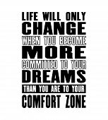 Inspiring Motivation Quote With Text Life Will Only Change When You Become More Committed To Your Dr poster
