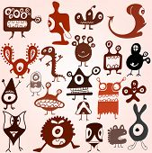 picture of ogre  - Many cute doodle monsters set - JPG