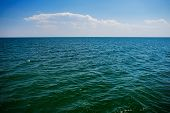The Blue Ocean With Dull Clouds On A Lovely Sunny Day poster