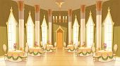 Vector Cartoon Illustration Of Castle Hall, Ballroom For Dancing, Royal Receptions, Dinners Or Banqu poster