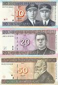 Lithuanian banknotes, 10, 20 and 50 Lithuanian litas.