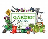 Vector Hand Drawn Gardening Poster With Tools, Flowers, Rubber Boots, Seedling, Tulips, Gardening Ca poster