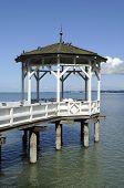 stock photo of foreshortening  - gazebo on lake promenade on bodensee shore - JPG