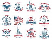 Set Of 4th July Vintage Emblem. Vector Illustration. poster