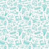 Dentist, Orthodontics Seamless Pattern With Line Icons. Dental Care, Medical Equipment, Braces, Toot poster