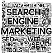 Search engine marketing SEM concept in word tag cloud on white