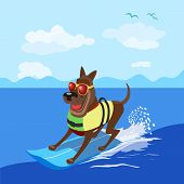 Summer Fun Sport Concept. Dog Surfing At Beach. Pet In Life Vest On Surfboard. Comic Surfer Cartoon. poster